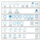 Símbolos do cuidado de matéria têxtil Foto de Stock