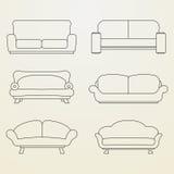 Grupo do ícone de sofás Imagens de Stock Royalty Free