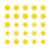 Grupo do ícone de Sun, ilustração Imagens de Stock Royalty Free