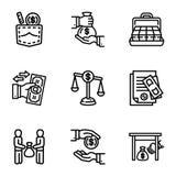 Grupo do ícone do dinheiro do negócio da corrupção, estilo do esboço ilustração stock