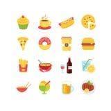Grupo do ícone do alimento Imagens de Stock Royalty Free