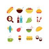 Grupo do ícone do alimento Foto de Stock