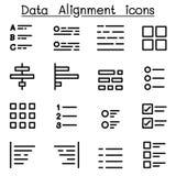 Grupo do ícone do alinhamento dos dados ilustração royalty free