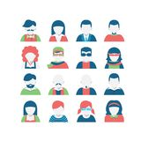 Grupo do ícone do Avatar, estilo liso Foto de Stock Royalty Free