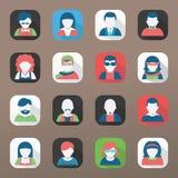 Grupo do ícone do Avatar, estilo liso Imagens de Stock