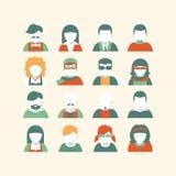 Grupo do ícone do Avatar, estilo liso Fotos de Stock Royalty Free