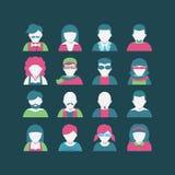 Grupo do ícone do Avatar, estilo liso Imagem de Stock