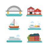 Grupo do ícone do barco e do porto Fotos de Stock