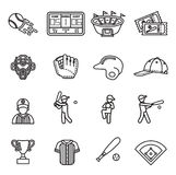 Grupo do ícone do basebol Fotos de Stock