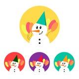 Grupo do ícone do boneco de neve Fotos de Stock