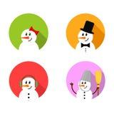 Grupo do ícone do boneco de neve Imagem de Stock Royalty Free