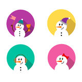 Grupo do ícone do boneco de neve Fotos de Stock Royalty Free