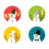 Grupo do ícone do boneco de neve Imagens de Stock Royalty Free