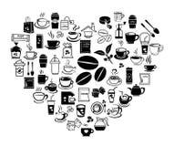 Grupo do ícone do café do coração Imagem de Stock Royalty Free