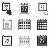Grupo do ícone do calendário Fotografia de Stock Royalty Free