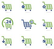 Grupo do ícone do carrinho de compras Imagem de Stock