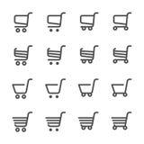 Grupo do ícone do carrinho de compras, linha versão, vetor eps10 Fotografia de Stock