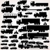 Grupo do ícone do carro Silhuetas da vista lateral Fotografia de Stock