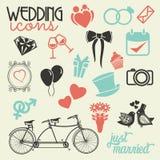 Grupo do ícone do casamento ilustração royalty free