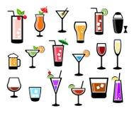 Grupo do ícone do cocktail ilustração stock