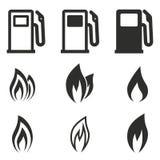 Grupo do ícone do combustível Foto de Stock Royalty Free