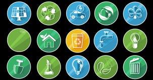 Grupo do ícone do conceito da ecologia Alpha Channel ilustração royalty free