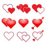 Grupo do ícone do coração Imagens de Stock Royalty Free