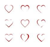 Grupo do ícone do coração Fotografia de Stock Royalty Free