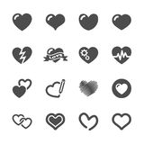Grupo do ícone do coração e do dia de são valentim, vetor eps10 ilustração stock