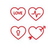 Grupo do ícone do coração O vermelho alinhou corações com batida, pulso para dentro, seta, fechamento e amor Imagens de Stock