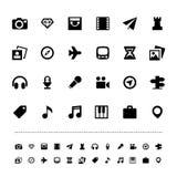 Grupo do ícone do curso e do entretenimento da retina Fotos de Stock Royalty Free