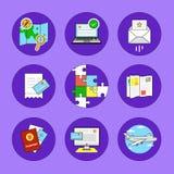 Grupo do ícone do curso e do voluntário Imagens de Stock Royalty Free