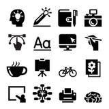 Grupo do ícone do desenhista Fotos de Stock