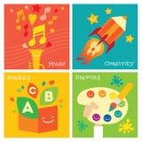 Grupo do ícone do desenvolvimento da faculdade criadora das crianças Imagem de Stock Royalty Free