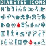 Grupo do ícone do diabetes ilustração do vetor