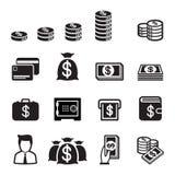 Grupo do ícone do dinheiro Ilustração Stock