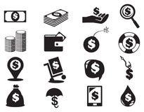 Grupo do ícone do dinheiro das notas e das moedas do dólar Imagem de Stock Royalty Free