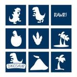 Grupo do ícone do dinossauro ilustração do vetor
