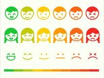 Grupo do ícone do emoticon da taxa do feedback Barra da classificação do sorriso da emoção Vect ilustração stock