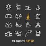 Grupo do ícone do esboço da indústria petroleira Vetor Fotos de Stock
