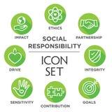 Grupo do ícone do esboço da responsabilidade social ilustração royalty free