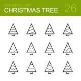 Grupo do ícone do esboço do vetor da árvore de Natal Fotos de Stock