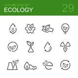 Grupo do ícone do esboço do vetor da ecologia Fotografia de Stock Royalty Free