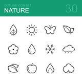Grupo do ícone do esboço do vetor da natureza Foto de Stock Royalty Free