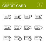 Grupo do ícone do esboço do vetor do cartão de crédito Foto de Stock Royalty Free