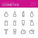 Grupo do ícone do esboço do vetor dos cosméticos Imagem de Stock