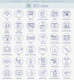 Grupo do ícone do esboço do vetor SEO Linha fina elegante projeto do estilo Fotos de Stock