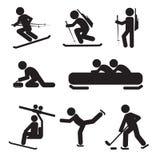 Grupo do ícone do esporte de inverno Fotografia de Stock Royalty Free