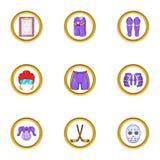 Grupo do ícone do esporte do hóquei, estilo dos desenhos animados Fotos de Stock