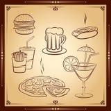 Grupo do ícone do fast food Foto de Stock Royalty Free